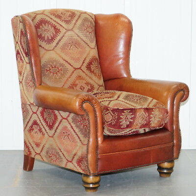 Rrp £1696 Tetrad Eastwood Brown Leather And Kilim Upholstery Armchair Lovely