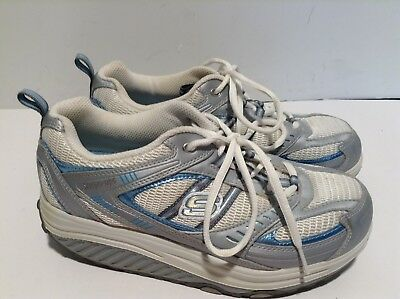 SKECHERS SHAPE UPS 11814 Silver Blue Walking Toning Athletic