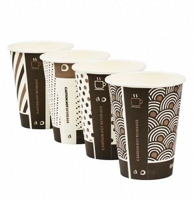 100 x 12oz Mixed Design Bamboo Cups White Lids Biodegradable Compostable Hot Cup