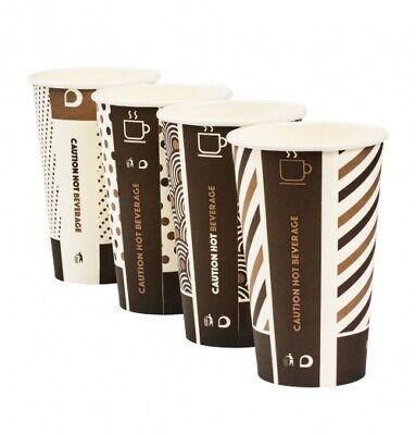1000 16oz Mixed Design Bamboo Cups White Lids Biodegradable Compostable Hot Cup