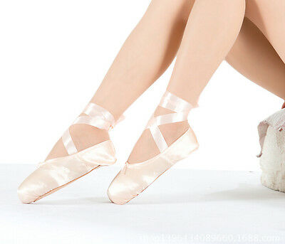 HOT Professional Women Ballet Dance Toe Shoes Upper With Ribbon Satin Pointe YU