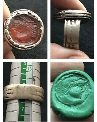 Vintage Wonderful Old Roman King Face Intaglio Red Agte Stone Unique Ring