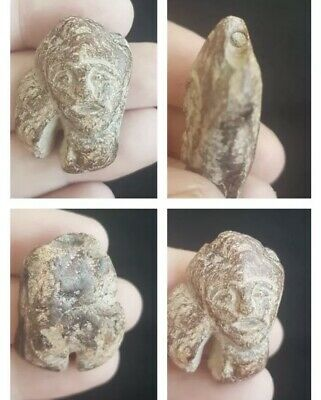 Gurnit Fire Stone Very Ancient Beautiful Buddha Statue Head  Bead