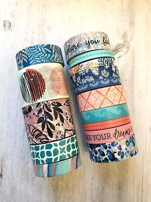 15  Rolls Coastal Ocean Floral Washi Tape Tube Papercraft Planner Supply Crafts