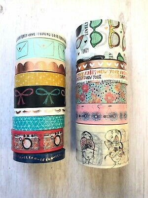 15 Rolls Girly Floral Washi Tape Tube Papercraft Planner Supply Crafts Camera