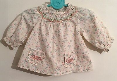 Baby Girls Monsoon 100% Organic Cotton Long Sleeved Top Age 0-3 Months