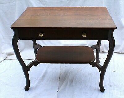 Early 20th C. Tiger Oak Library Desk w/ Drawer