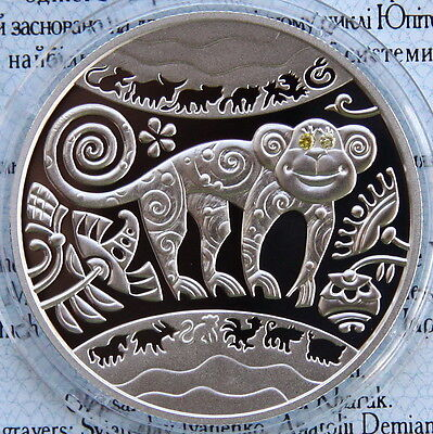 2016 Ukraine Chinese Lunar Year of the Monkey 1//2 Oz Silver Proof Coin Gemstone