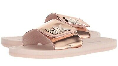 8b5d287582d4 Michael Kors Beautiful Womens Metallic Rose Gold Slide Slip-On Sandals Sz 7  NWT