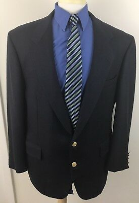 Vtg Custom Tom James Holland & Sherry Blue Sport Coat Blazer Mens 46 Wool 2 Btn