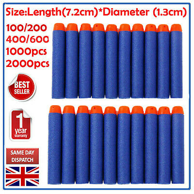 100-500X Gun Soft Refill Bullets Darts Round Head Blasters For Nerf N-Strike Toy