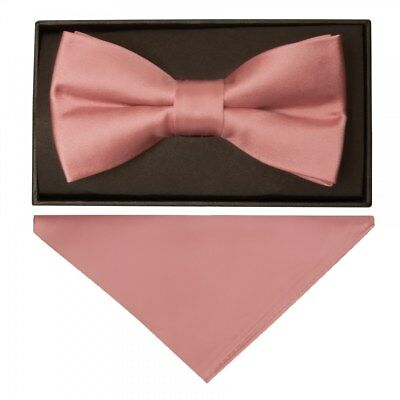 3dfc921d4bc6 TIES R US Plain Rose Gold Handmade Mens Bow Tie and Pocket Square Set  Dickie Bow