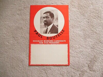 Fabulous Vintage 1968 Socialist Workers Candidate Poster  Paul Boutelle Vp