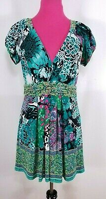 BEIGE BY ECI Dress Size M Womens Green Floral Ruched Waist Shirred Short Sleeve