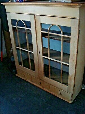Original Mid 19Th C Farmhouse Pine Kitchen Cabinet With Drawers