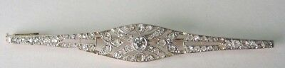 Antique Art Deco Victorian French Diamond Pin Brooch Platinum 18K Yellow Gold