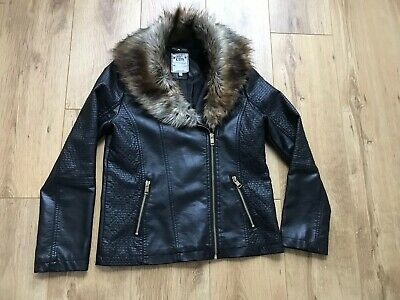 Girls M&s Faux Leather Jacket With Detachable Fur Collar Age13-14 Height 164cm