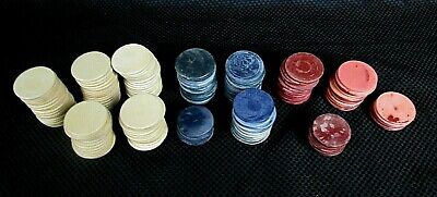 Lot of 166 Vintage Antique Clay Poker Chips 77 White 40 Red 49 Blue