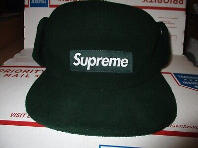 9c27e3a9ed8 Supreme Polartec Earflap Camp Cap Box Logo GREEN Cap Forest Winter New York  huf