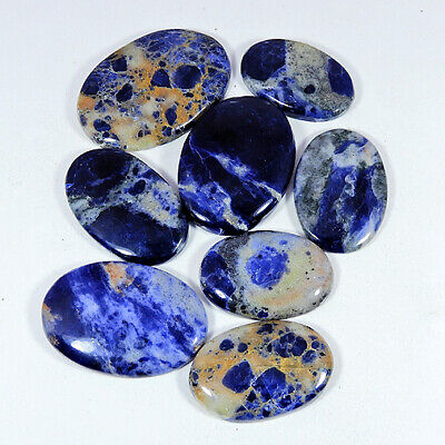 407Cts. Natural Blue Sodalite Oval Shape Cabochon Loose Gemstone 08Pcs Lot fW742