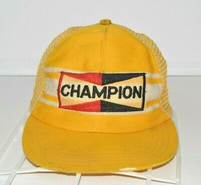 8248f9bb658 Champion Spark Plugs Vintage Hat Mesh Trucker Snapback Big Patch Cap Dirty