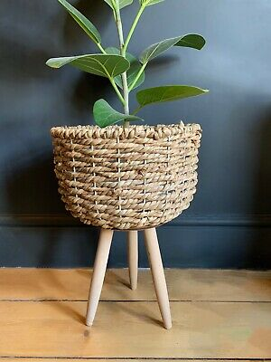 Lined Basket Plant Pot Planter Stand Retro Mid Century Modern Seagrass Wicker