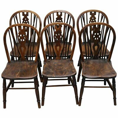 Rare Set Of 6 Victorian 1840 Hoop Back Windsor Chairs High Wycombe, England