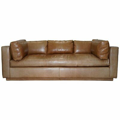Huge Rrp £15,500 Ralph Lauren Three-Four Seater Brown Leather Feather Sofa