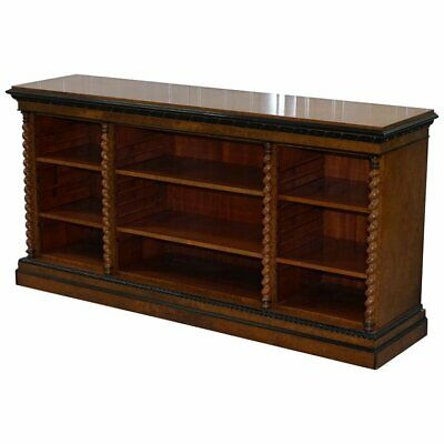 Stunning Burr Walnut Break Front Open Bookcase Sideboard Ebonized Barley Twist