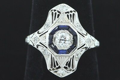 Art Nouveau (ca. 1920) 18K White Gold Diamond Ring with Sapphires (Size 6)