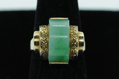 Art Deco HK (ca. 1930) 14K Yellow Gold Hand Chased Flower Jade Ring (Size 6 1/4)