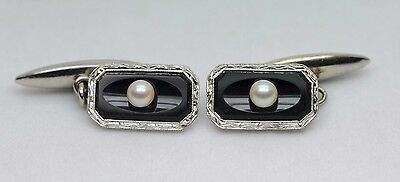 Art Nouveau (ca. 1927) 14k White Gold Onyx and Pearl Cuff Links (Hand Engraved)