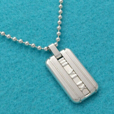 f66a236f0 Tiffany & Co. Atlas Dog Tag Ball Chain Necklace Pendant Sterling Silver 975