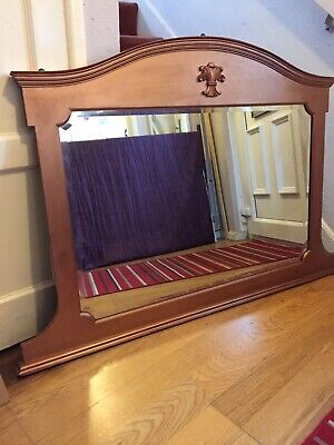 Large Wood Victorian Over Mantle Mirror - Metallic Copper