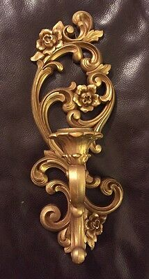 Vintage 1971 Hollywood Regency HOMCO 4119 Gold-Tone Wall Sconce Candle USA