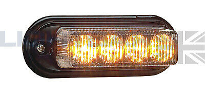 Lightbar UK Grill Strobe 4 LED Recovery Emergency Flashing Amber LED Light Head