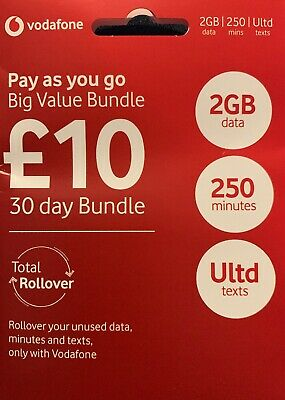 VODAFONE PAY AS YOU GO SIM CARD OFFICIAL BIG VALUE £10 Credit Included