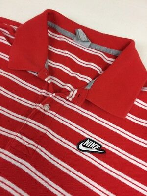 Nike Vintage Men's Polo Shirt Spell Out With Swoosh RARE! Red White XL Cotton