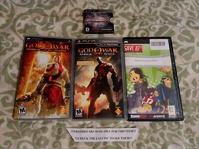 Psp Game Lot God Of War Chains Of Olympus & Ghost Of Sparta & Valhalla Knights 2