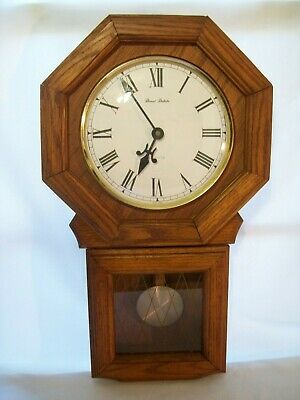 Vintage Daniel Dakota Red Oak Quartz Pendulum Regulator Style Wall Clock