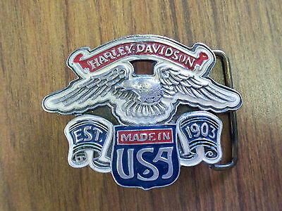 Harley Davidson Vintage Enamel Flying Eagle Belt Buckle Red White Blue