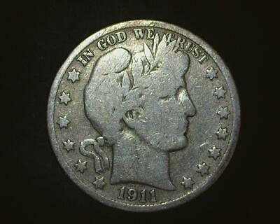1911-S Barber Half-Dollar  Silver  Very Good    ~393509-Lb6Ra15
