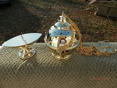 Traditional Style Incense Censer Thurible + Boat + Spoon