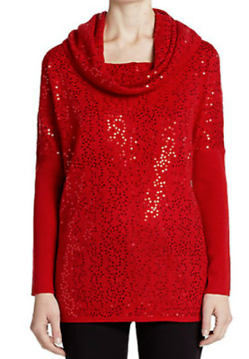 Saks Fifth Avenue Sequined Cashmere Off-The-Shoulder Cowlneck Sweater NWT $338