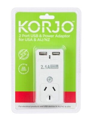 Korjo 2 Port USB Travel Adaptor Charger For USA From Australia New Zealand