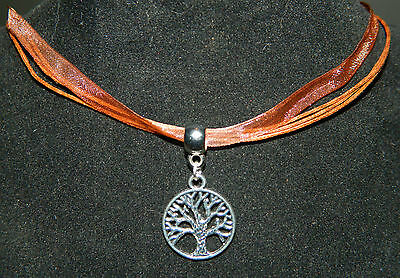 """Organza Ribbon Necklace : Silver Tree of Life Pendant 17"""" Pagan Wicca Occult"""
