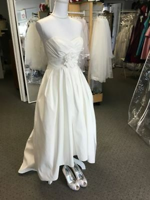 fa10e473619d Tea Length Oleg Cassini Strapless Ivory Wedding Dress - Size 4