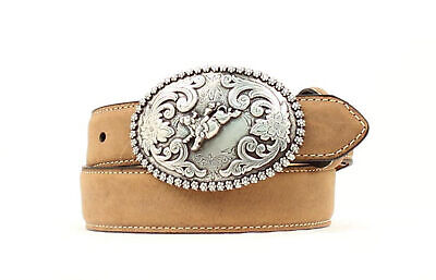 Nocona Medium Brown Leather Boys Bucking Bull Belt