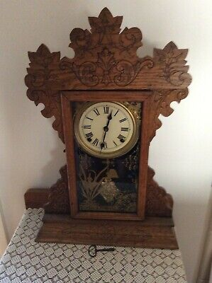 Kitchen Cottage Striking  Mantel Clock Vintage 8 Day Wind Up Working Well