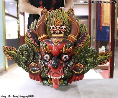 Tibet Temple Old Wood Hand Carved Color Painted Garuda Dhwaja Bird God Head Mask